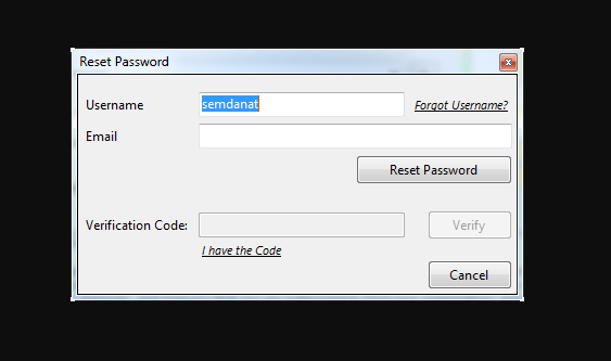 reset username and password