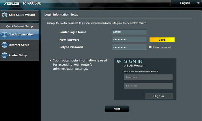 login to asus router