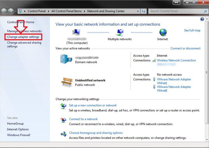 click on the network adapter settings